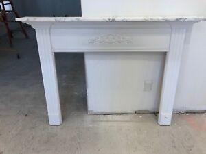 White Fireplace Mantle with marble top/inserts