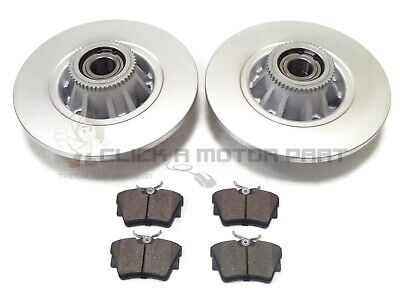 RENAULT TRAFIC 01-14 REAR BRAKE DISCS PADS + FITTED WHEEL BEARINGS & ABS RINGS