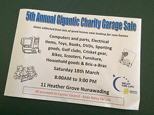 5th Annual Charity Garage Sale Nunawading Whitehorse Area Preview