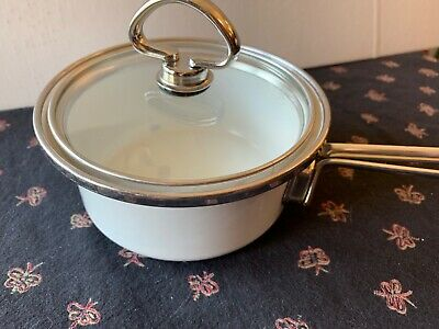 Vtg CHANTAL Enamel Steel Glass Lid Covered ROUND 1/2 qt sauce pan White W silver