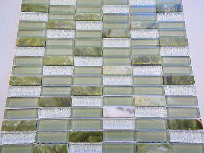 Glas naturstein effekt mosaik fliesen jade gr n mix sticks klarglas glasmosaik ebay - Mosaik fliesen grun ...