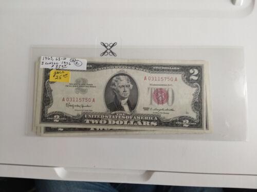 Five $2 Bills 1963, 63A, & 3 Consecutive 1976 #2