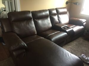 Brown leather recliner/sectional