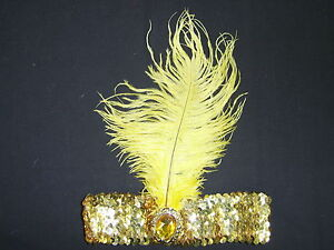 1920's Headband Feather Sequin Flapper Headpiece Gatsby Charleston Costume