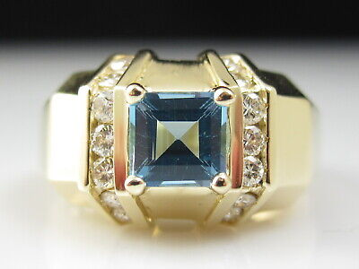 Blue Topaz Diamond Ring 14K Yellow Gold Square Channel Set Fine Jewelry Size 6.5