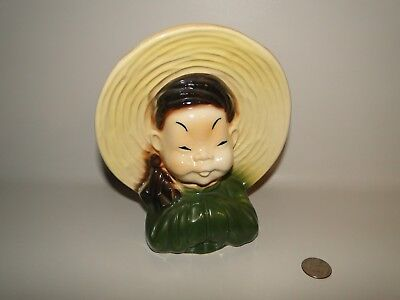 Estate Royal Copley Asian Chinese Girl Wallpocket Head Vase Planter Green Shirt Royal Estate Green