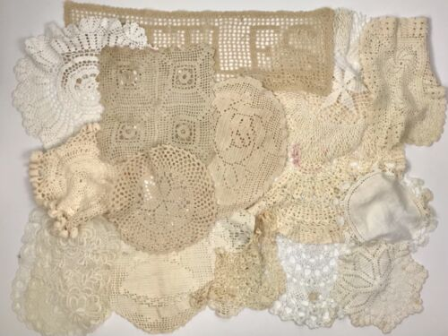 Lot Of 50 Crochet Doilies Lace Crafts Repurpose Wedding Shabby Chic