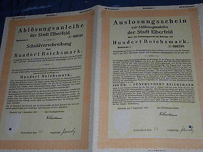 23 : histor.Wertpapier ,Schuldverschreibung , Elberfeld ,1.September 1927,100 RM