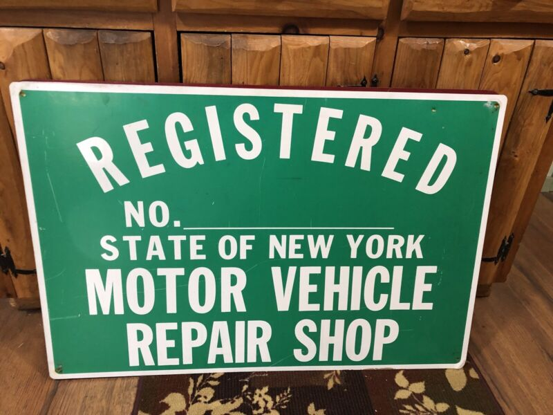 NYS REGISTERED MOTOR VEHICLE REPAIR SHOP 2 Sided Sign