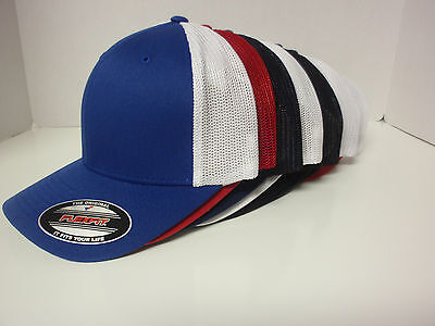 TRUCKER FLEXFIT MESH CAP PLAIN BLANK BASEBALL HAT FLEX FIT CURVED FITTED 6511