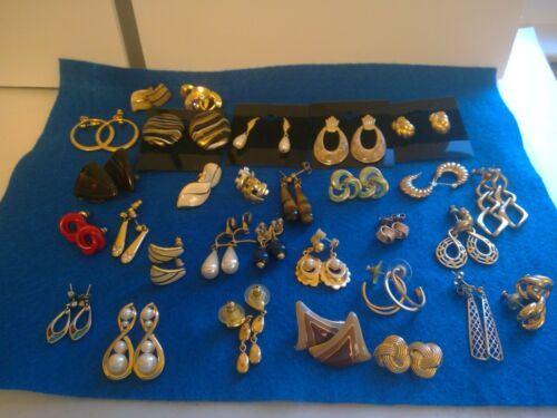 Vintage and Current Pierced Earrings 30 pairs Preowned