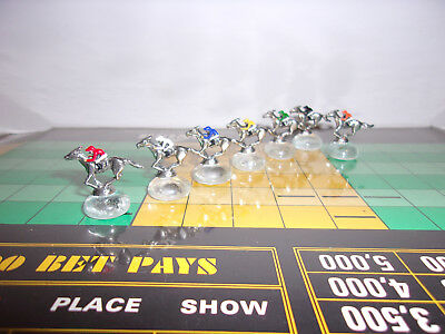 7 PIECE FIGURINE VINTAGE APBA AMERICAN SADDLE WIN PLACE SHOW HORSE RACING GAME