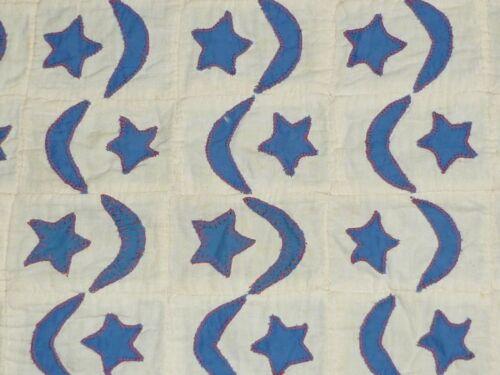 Antique Primitive Quilt Top-AMERICANA Red White Blue Stars-Moon~Hand Applique