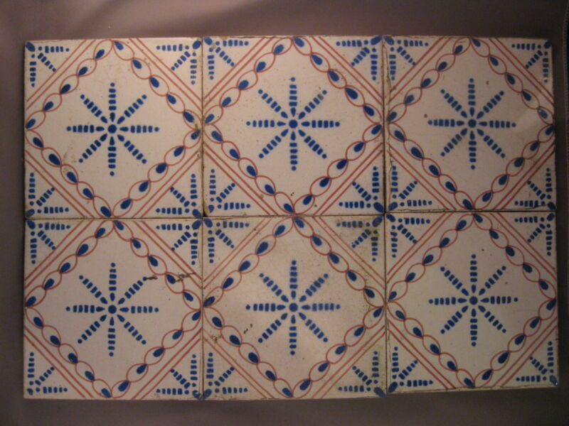 6 Antique polychrome Dutch Tiles Ketting star Tile 19th -free shipping  N2