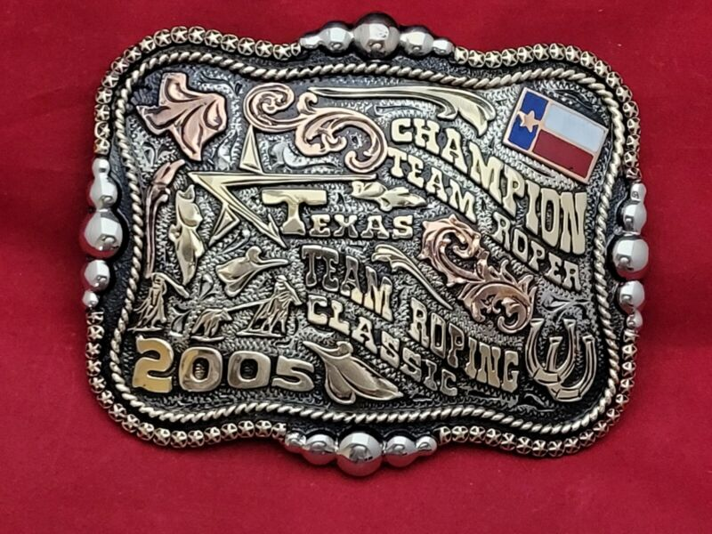 CHAMPION TEAM ROPING TEXAS CLASSIC RODEO TROPHY BUCKLE ☆2005☆ VINTAGE-819