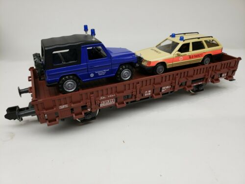 Marklin 5848 Gauge 1 Flatcar with THW Mercedes Cars 1:32
