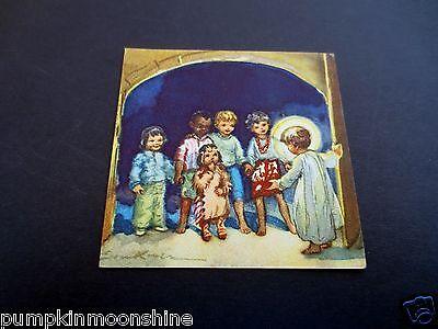 Unused Erica Von Kager Brownie Xmas Greeting Card Kids Stand in Front of Jesus