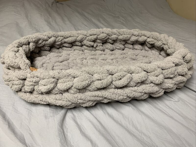 Hand Knitted Baby Moses basket