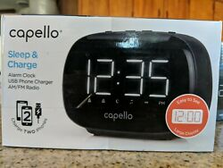 (5C2) Çapello Sleep & Charge Alarm Clock Dual Usb cell phone charger am/fm radio