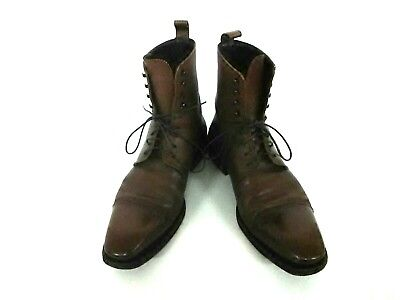 Auth GUCCI DarkBrown Leather Boots Men