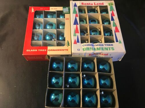 Lot of 36 - Vintage Blue Glass Christmas Ornaments - Made in the USA caps
