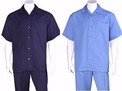 100% LINEN, MEN'S CASUAL WALKING SUIT SHORT SLEEVES AND LONG PANTS (Mens Short Suit)