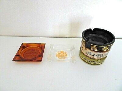 Vintage Lot of 5 Golden Nugget Las Vegas ashtrays Square round Amber