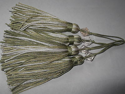 **4 PALE GREEN AND WHITE CUSHION TASSELS WITH BEAD