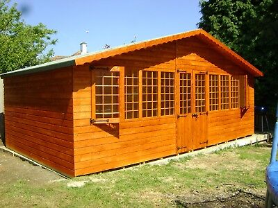 20 x 10 SUPREME SUMMER HOUSE LOG CABIN WOODEN SHED TOP QUALITY TIMBER MANCAVE