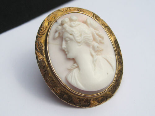 Antique Art Nouveau Deco era Coral Carved 10K Gold Cameo Brooch Pin Pendant