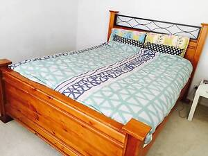 Wooden Bed Frame with Queen Mattress Rockdale Rockdale Area Preview