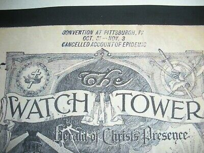 CONVENTION CANCELLED 1918 EPIDEMIC WATCHTOWER JEHOVAH'S WITNESSES BIBLE STUDENTS