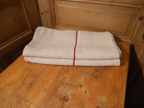 Antique European Feed Sack GRAIN SACK Red Stripes # 10474