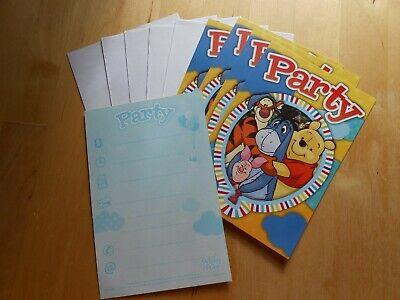 5 Disney Winnie the Pooh Einladungskarten mit Umschlägen Party Geburtstag Bär