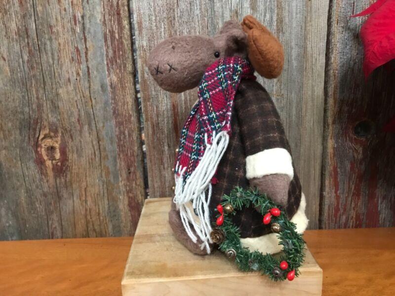 "Christmas moose felt like fabric table topper with wreath 10"""