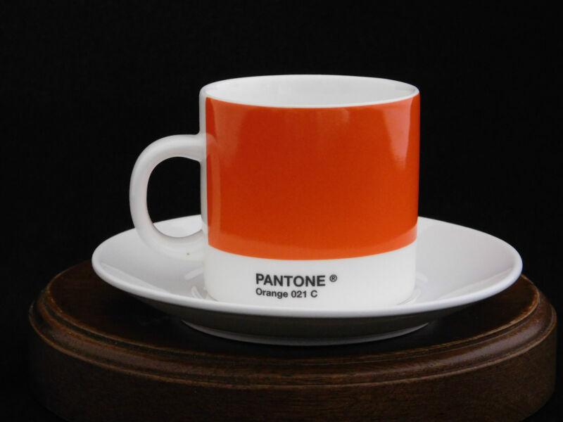 Pantone Coffee Series Orange 021 C Espresso Cup & Saucer by Whitbread Wilkinson