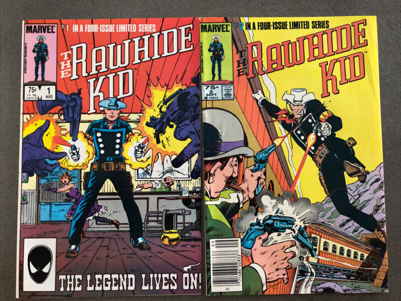 VINTAGE 1985, LOT OF 2 MARVEL COMIC BOOKS, RAWHIDE KID, NUMBER 1 AND 2