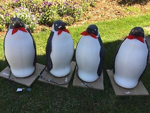 "22"" blow mold lighted penguin outdoor yard decor"