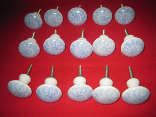 15 blue and white floral ceramic drawer knobs