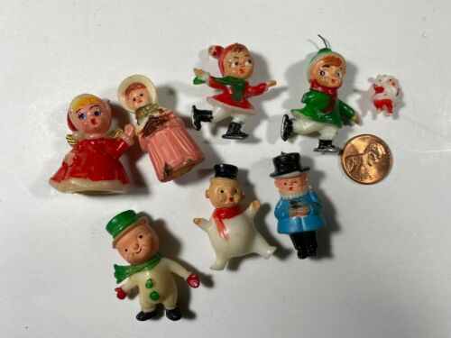 Vintage Miniature Christmas Figures Lot of 8 Pcs~ Hard Plastic ~ Hong Kong