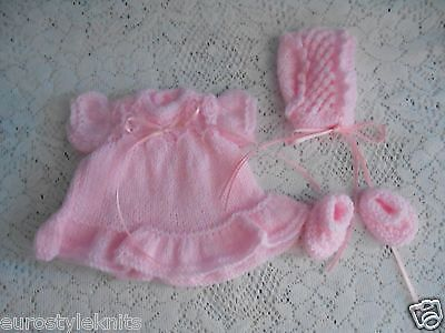 Doll Clothes Pink Hand-knitted dress set fit  Berenguer and HeidiOtt 8in