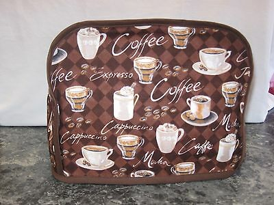 Coffee Latte Java Mocha cotton fabric Handmade 2 slice toaster cover (ONLY)