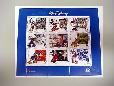 PORTUGAL WALT DISNEY STAMPS SHEET MICKEY MOUSE GOOFY PLUTO DONALD DUCK porwd