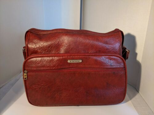 Vintage Samsonite Silhouette Carry On Burgundy Leather Shoulder Travel Bag - $24.00