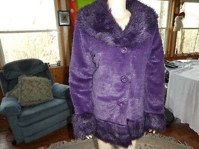SIONI Dark Purple Faux Fur Jacket~Size M (L)~Large Collar & Cuffs~N/W/O/T (Purple Fur Jacket)