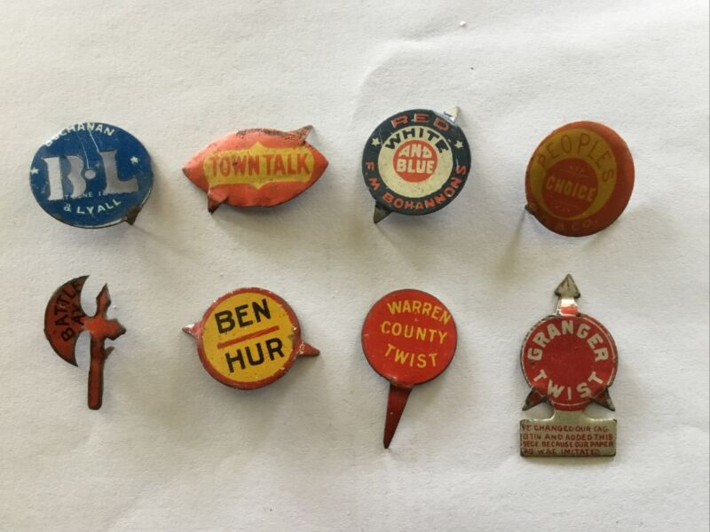 Tobacco Tags Lot Of 8 Ben Hur, Battle Ac, Red White Blue, Etc.