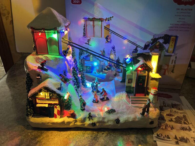 St Nicholas Square Ski Blaster Snow Ski Chair Lift Animated Lights Music