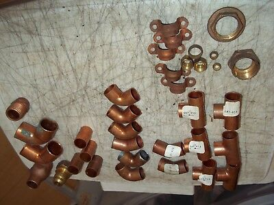 35 Pc Lot Copper Fittings Plumbing 58 Tees Elbows Coupling A Few Brass Lk