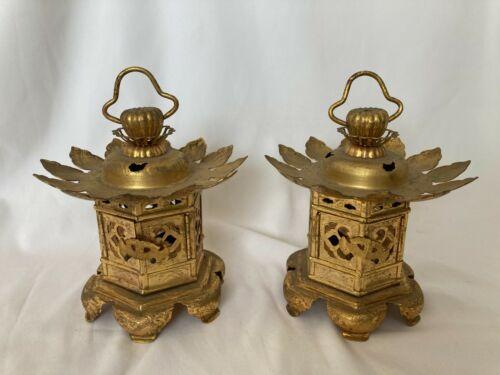 Japanese antique CANDLE HOLDER Lantern Lamp Toro Buddhist art Gold 2 set AB