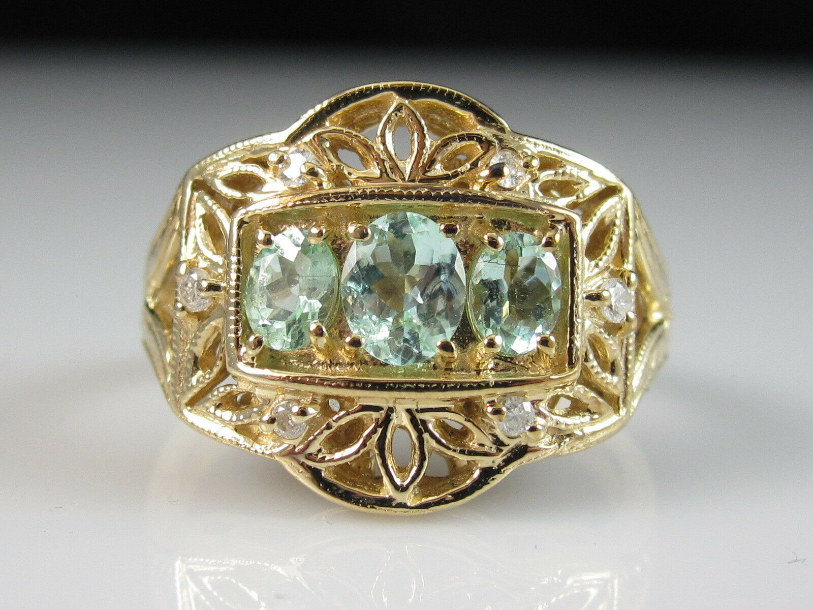 You're Almost Done 14k Paraiba Tourmaline Diamond Ring